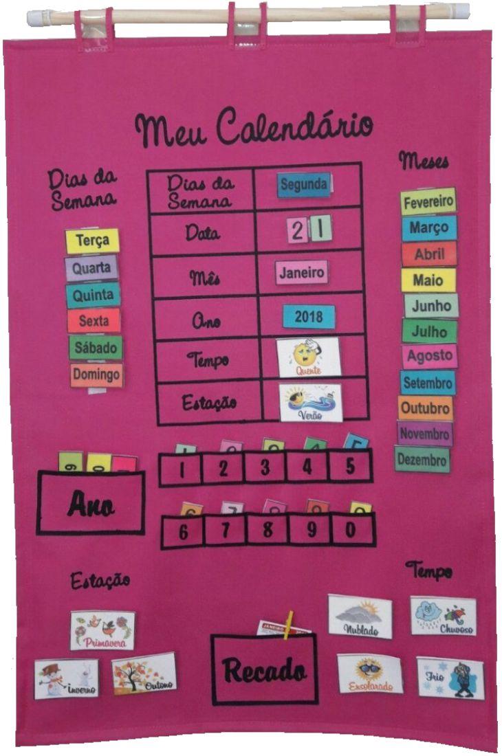 Brinquedo Educativo Meu Calendário em Português Rosa