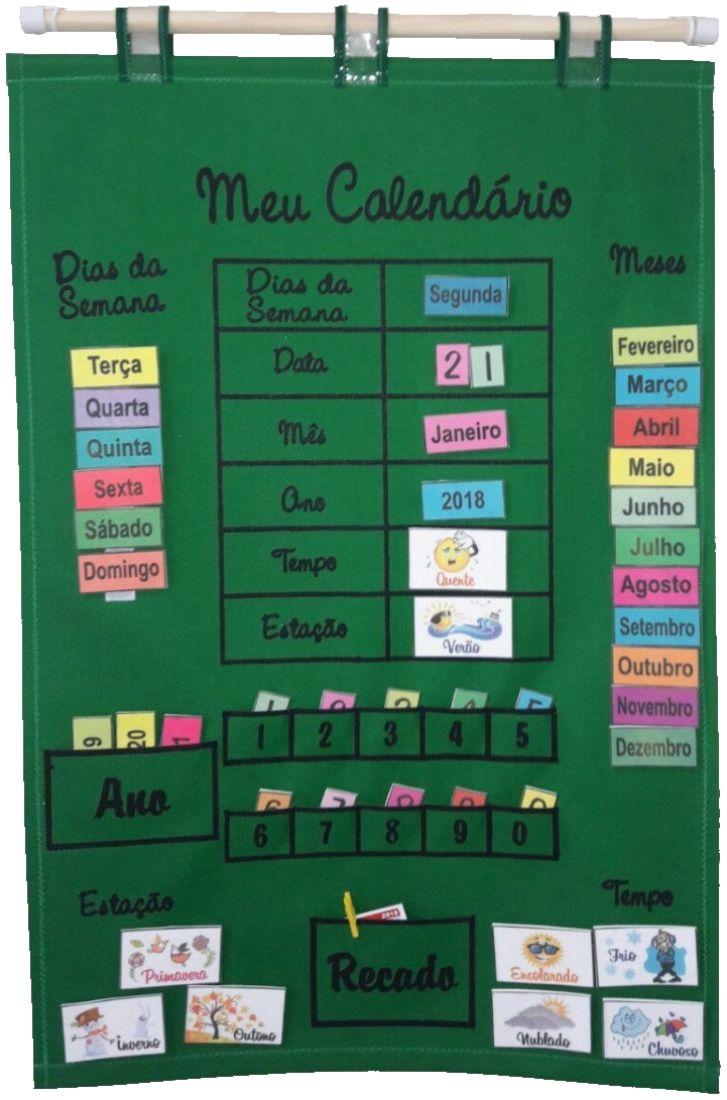 Brinquedo Educativo Meu Calendário em Português Verde