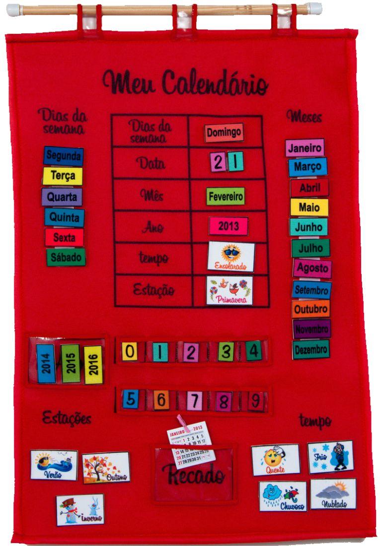 Brinquedo Educativo Meu Calendário em Português Vermelho
