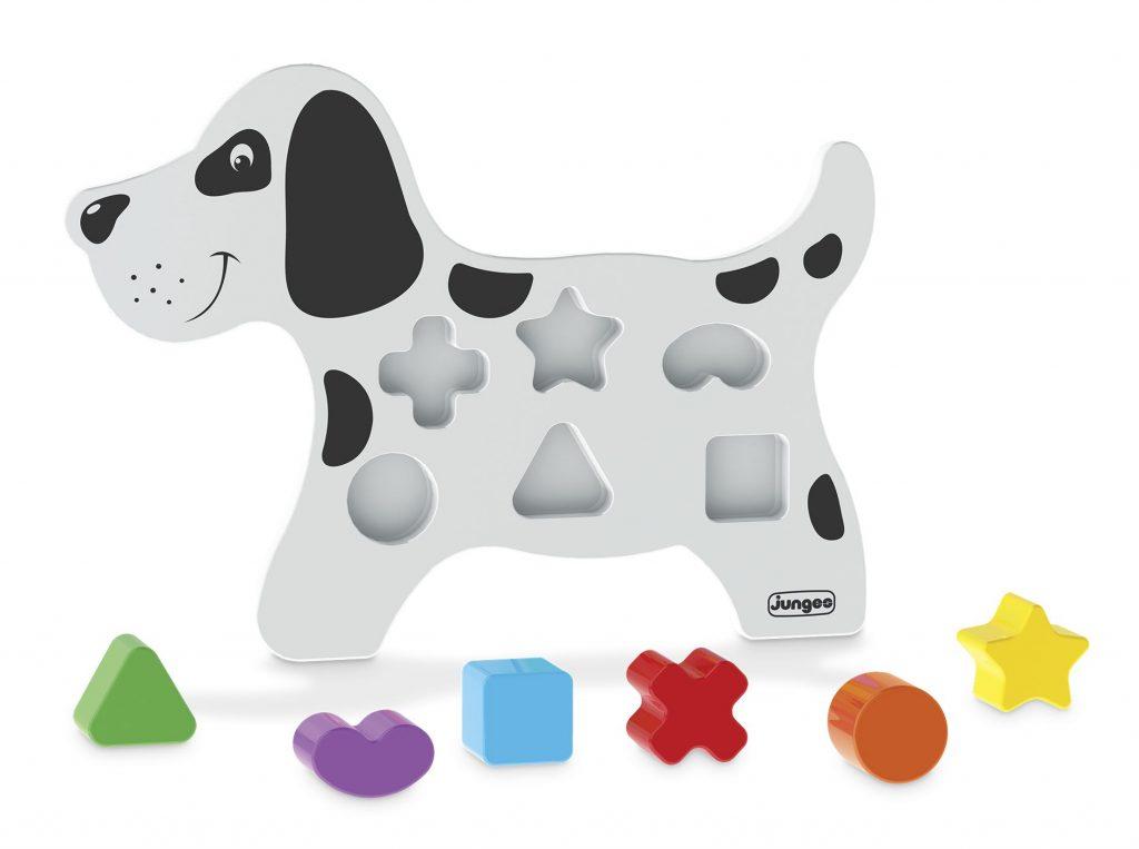 Cãozinho didático em madeira com peças plásticas