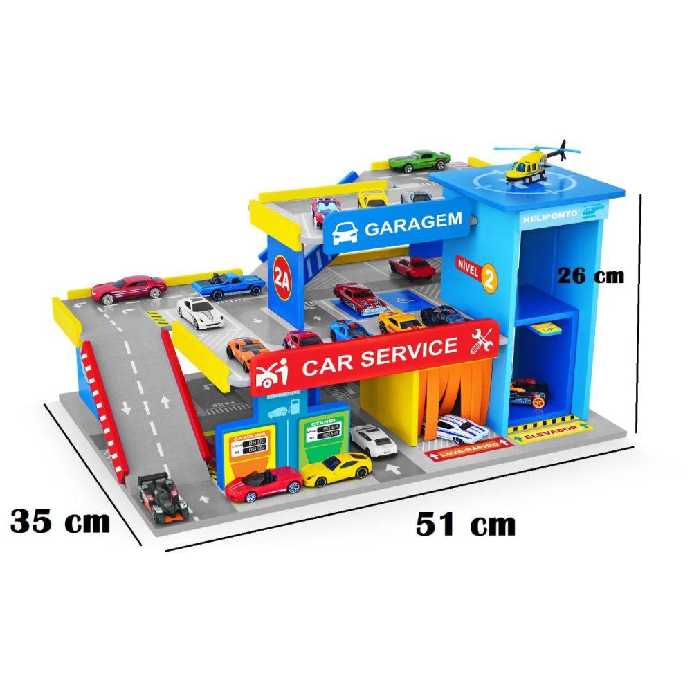 Postinho e garagem com carrinhos na diagonal e indicação de tamanho