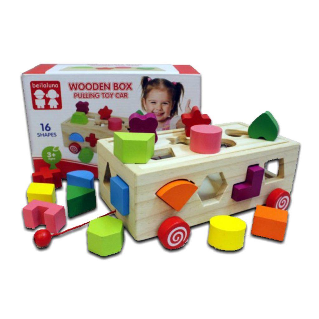 Caixa de encaixes formas carrinho e embalagem