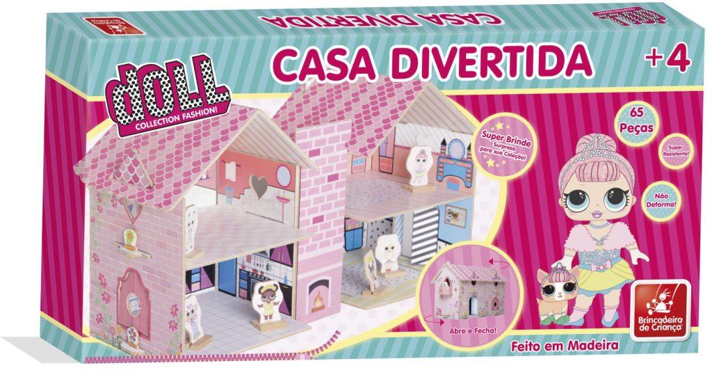 Embalagem da casa divertida doll