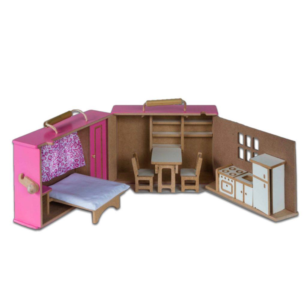 Maleta casinha rosa aberta