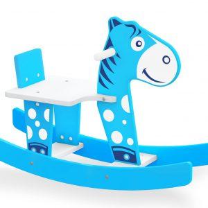 Cavalinho gangorra azul em madeira