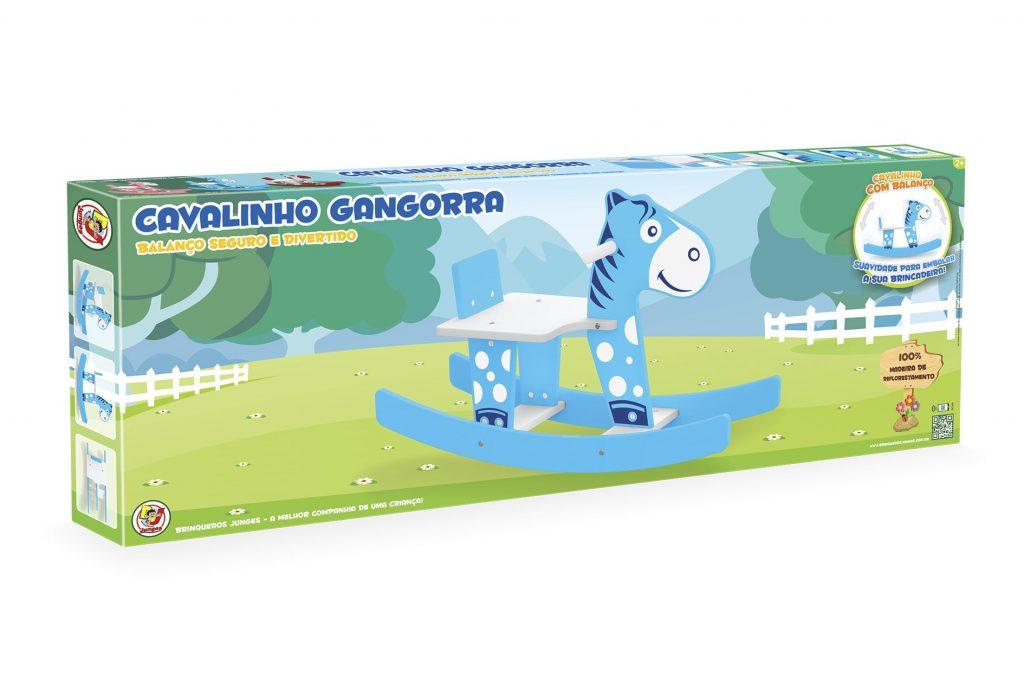 Embalagem do Cavalinho gangorra azul em madeira
