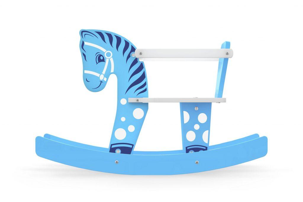 Cavalinho gangorra bebê azul em madeira