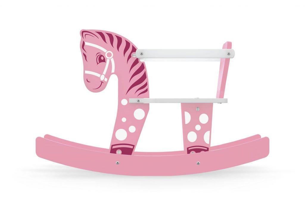Cavalinho gangorra bebê rosa em madeira