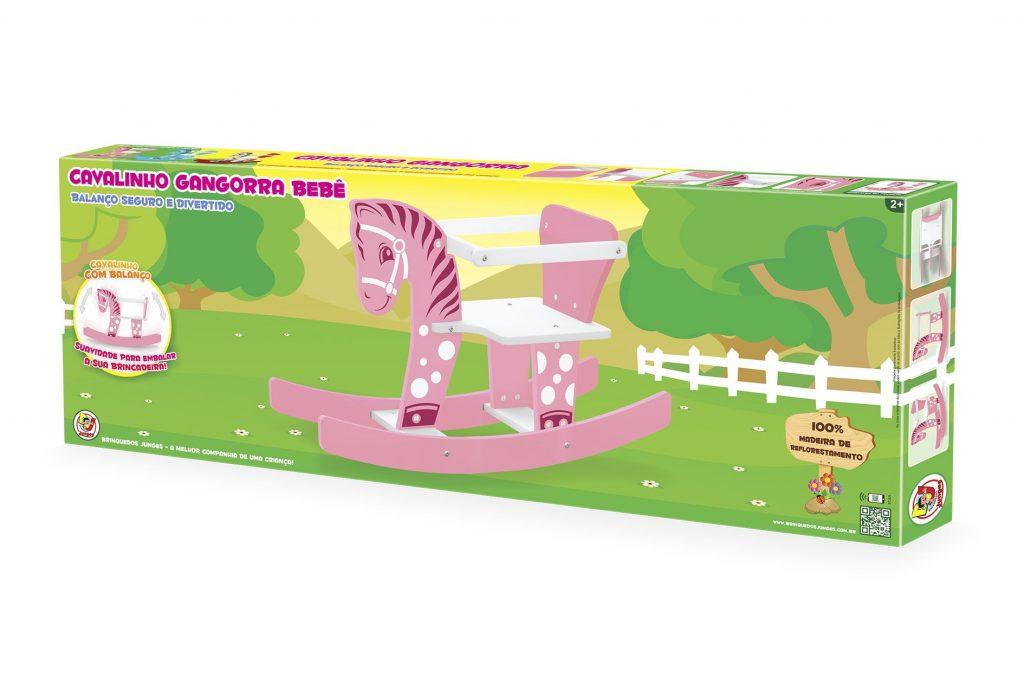 Embalagem do Cavalinho gangorra bebê rosa em madeira