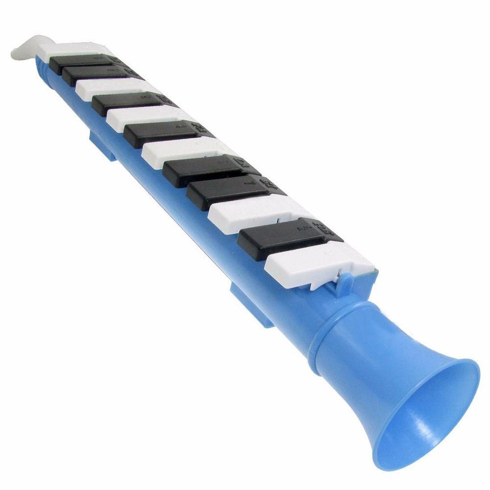 clarineta infantil azul claro de 13 teclas pretas e brancas