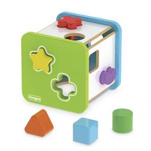 Cubo didático em madeira com formas geométricas plásticas