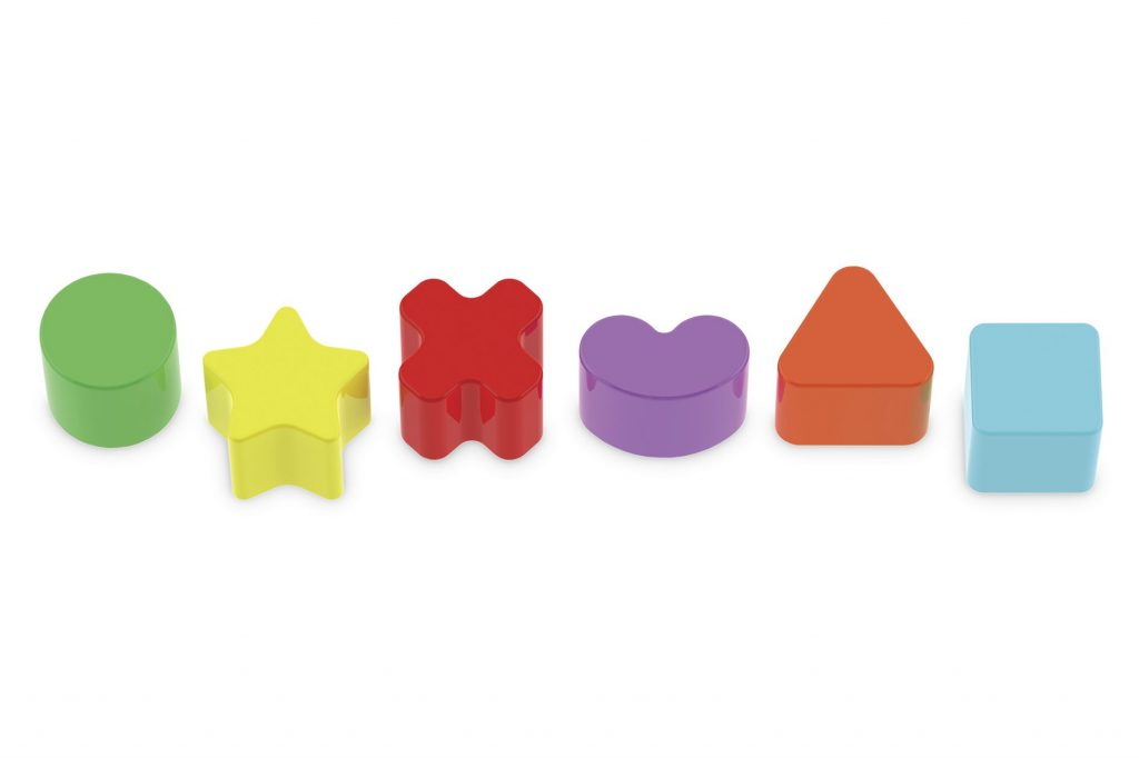 Peças plásticas geométricas do Cubo didático em madeira