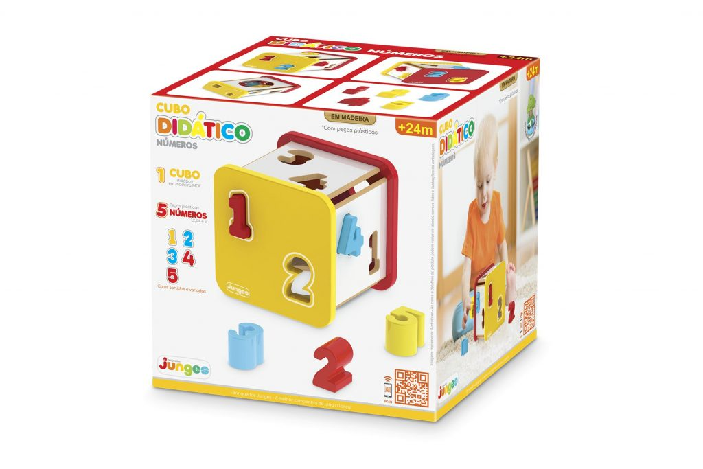 Caixa do Cubo didático em madeira com números plásticos