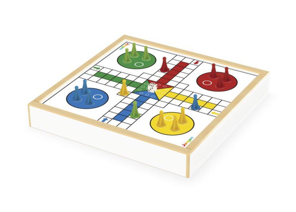 Jogo damas e ludo, lado do ludo com peças no tabuleiro