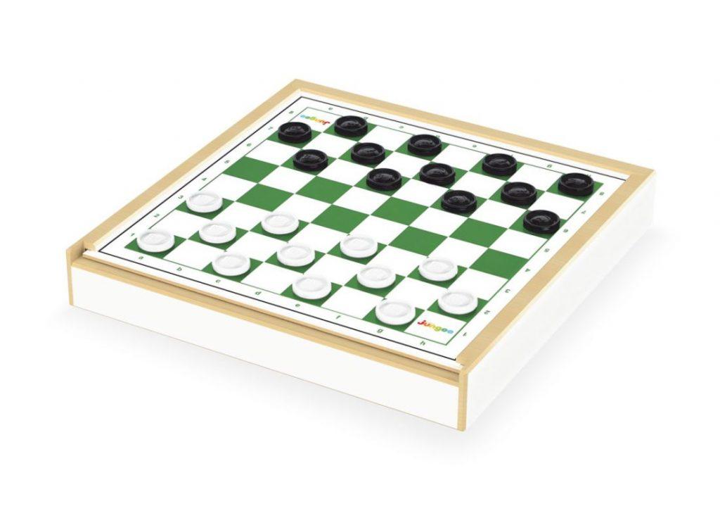 Jogo damas e ludo, lado da dama com peças no tabuleiro