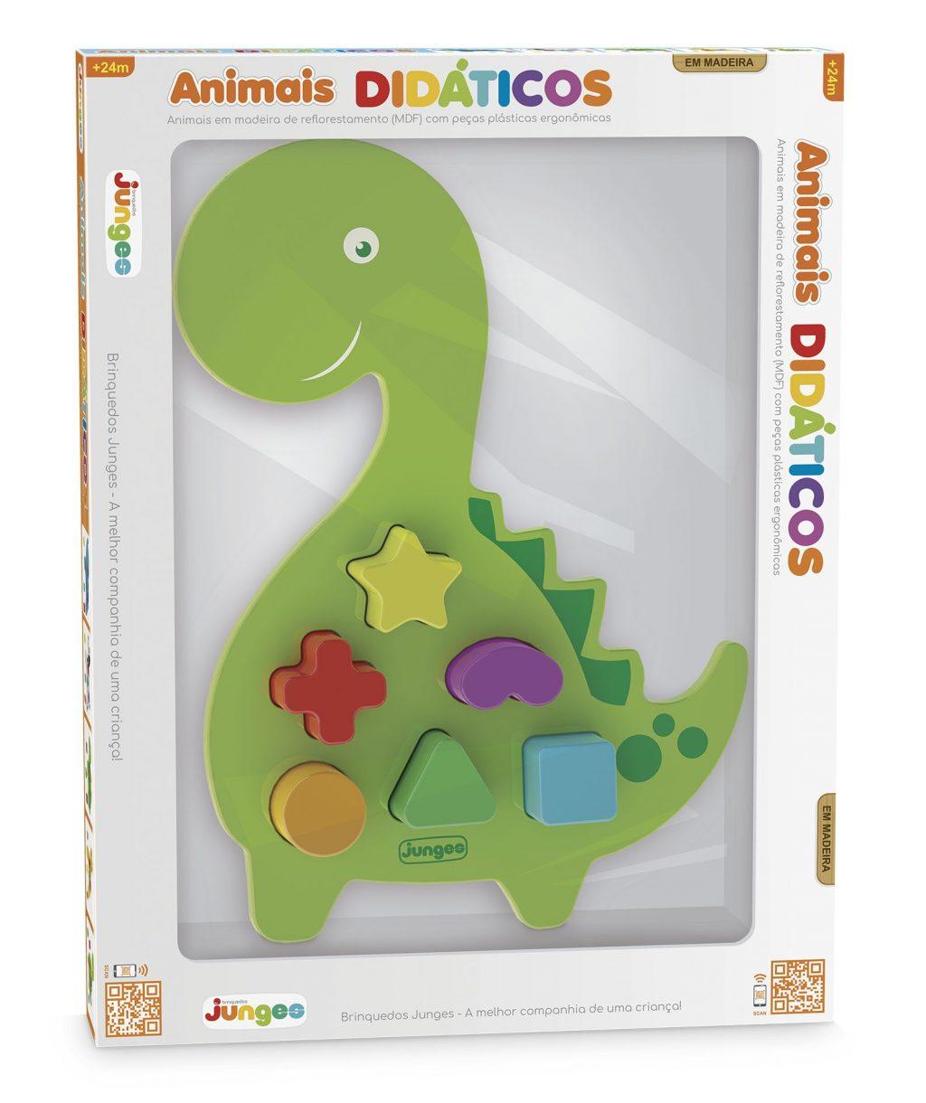 Dinossauro didático em madeira com peças plásticas