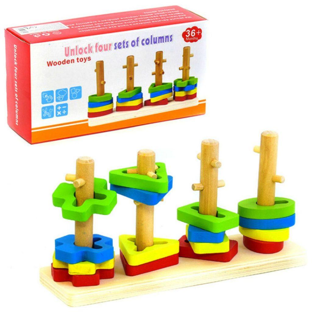 embalagem e Encaixe de formas com 4 colunas