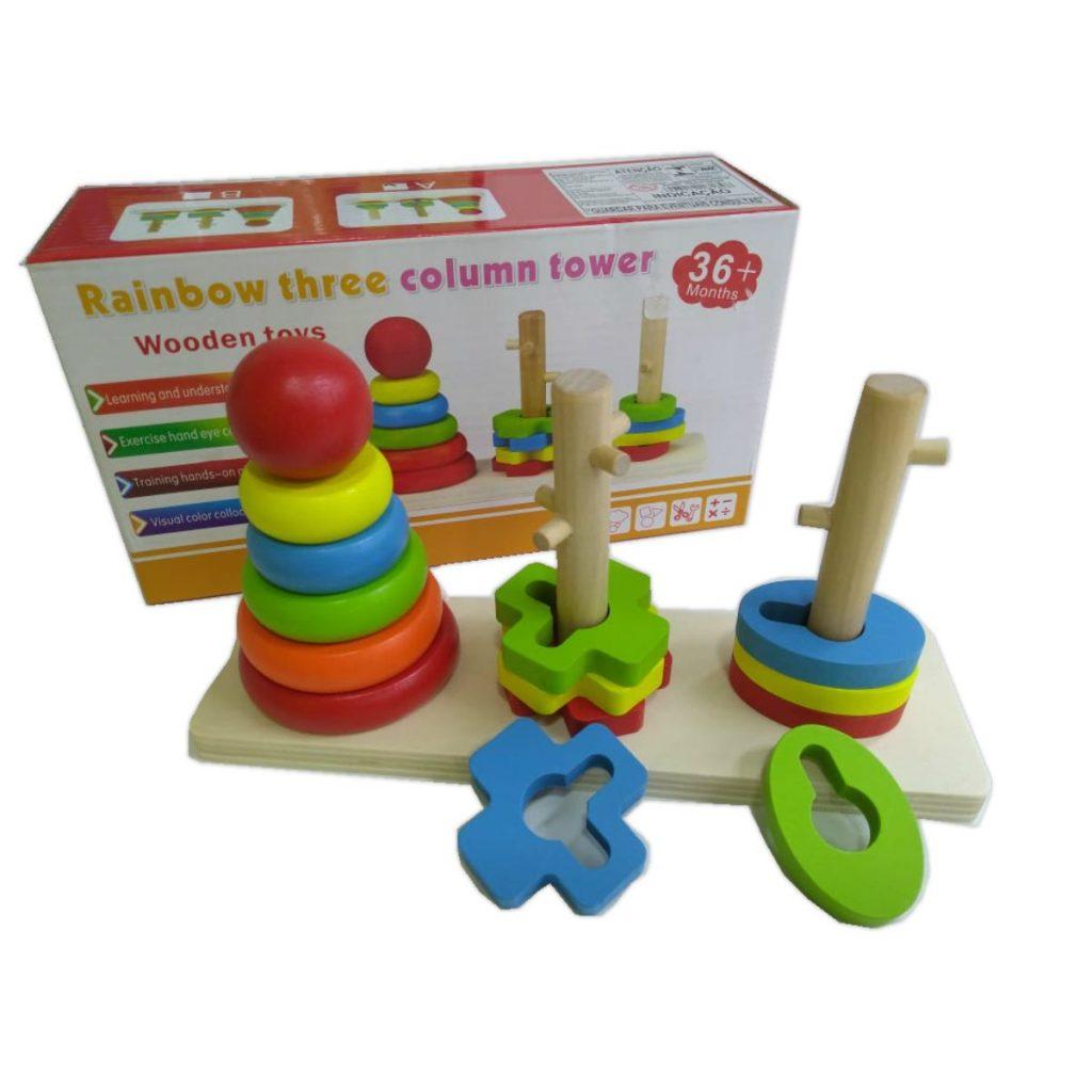 Embalagem e Encaixe triplo torre de 3 colunas em madeira modelo a