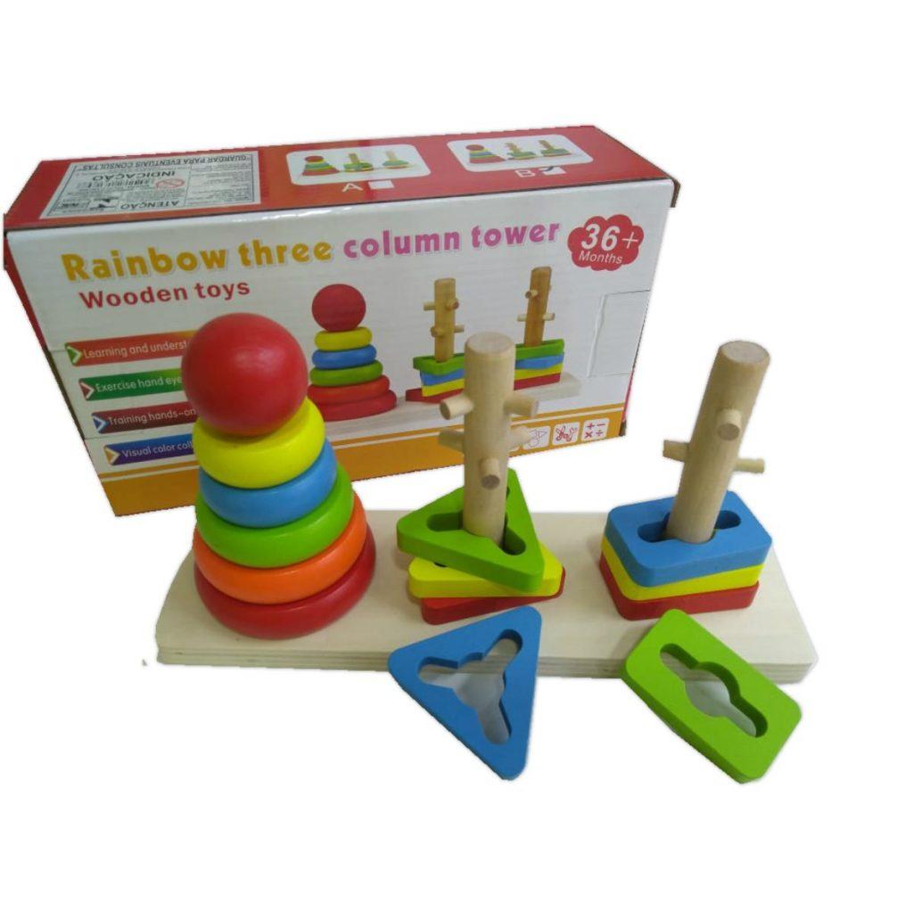 Embalagem e Encaixe triplo torre de 3 colunas em madeira modelo b