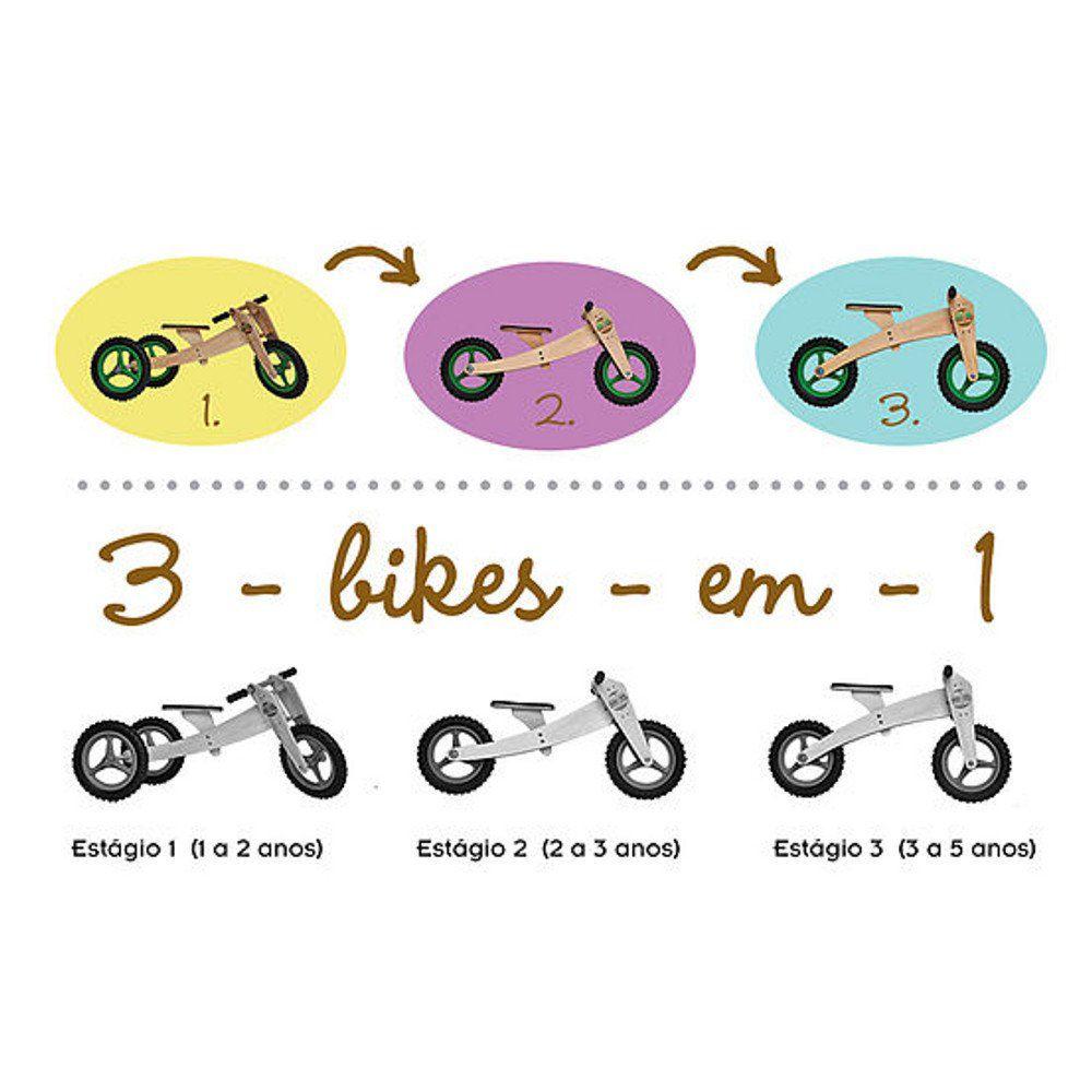 Estágios da bicicleta de equilíbrio três em uma