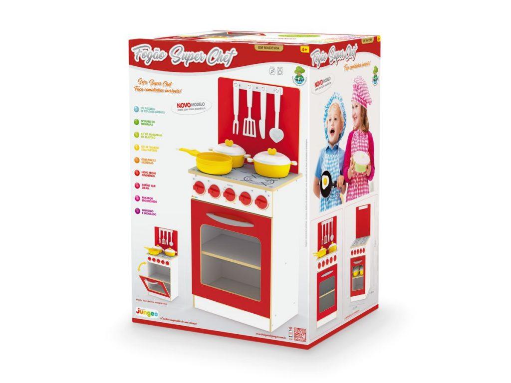 Embalagem do fogão super chef infantil vermelho