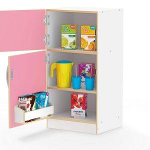 Geladeira Infantil Super Lux Rosa com as duas porta abertas