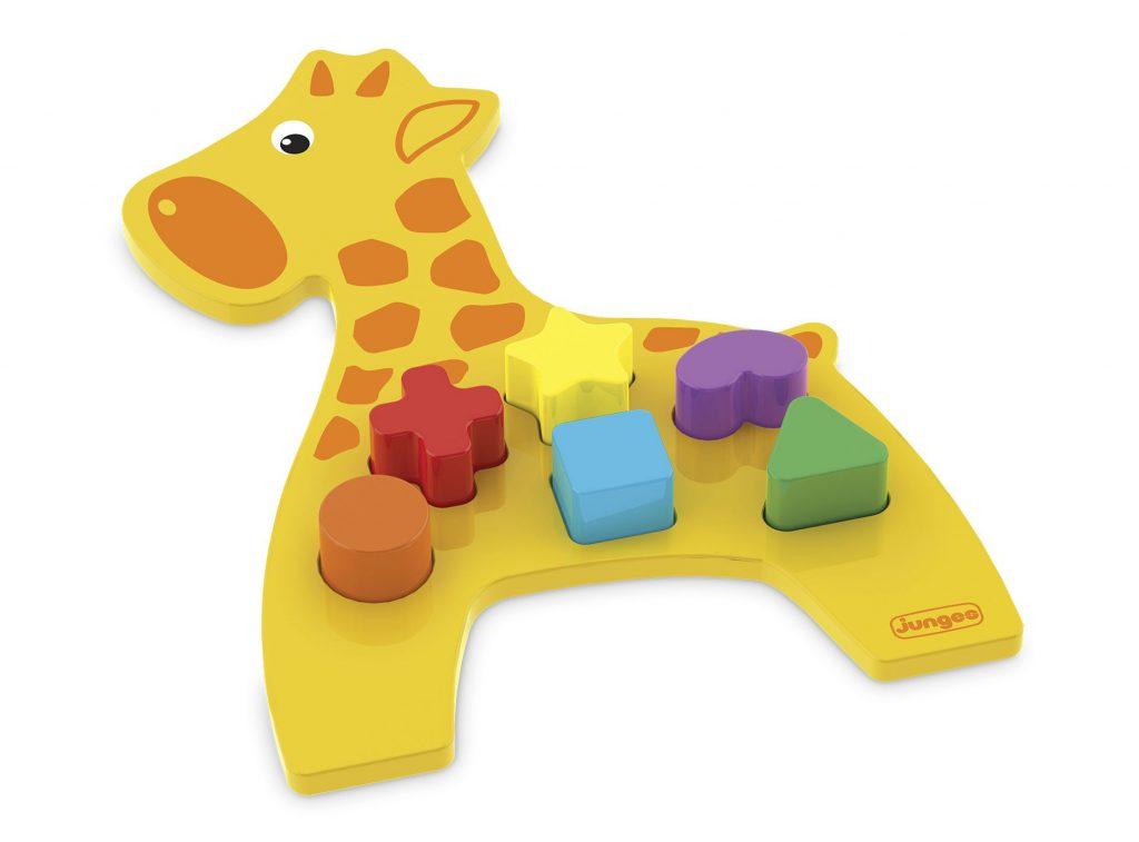 Girafa didático em madeira com peças plásticas