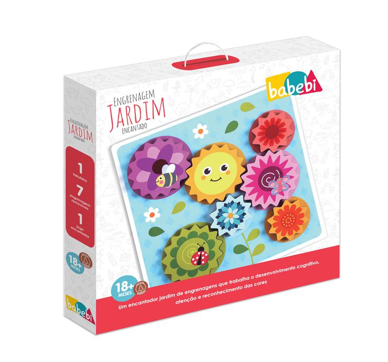 Caixa do Brinquedo Educativo Engrenagens Jardim Encantado