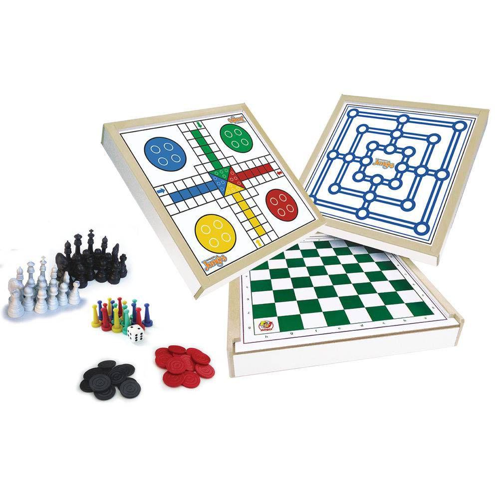 Jogo 4 em 1 xadez, ludo, dama e trilha