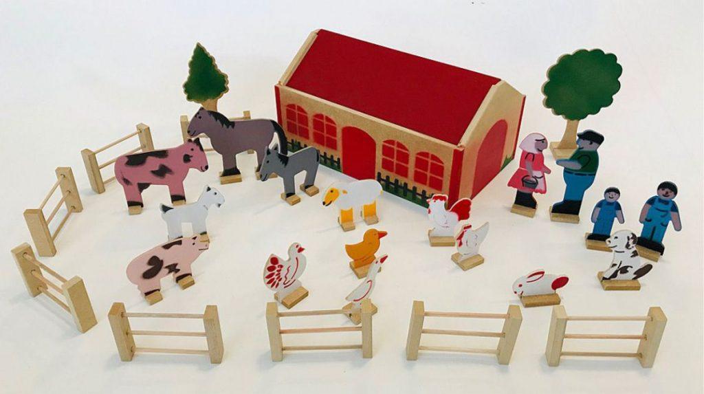 Cenário fazenda de madeira montado