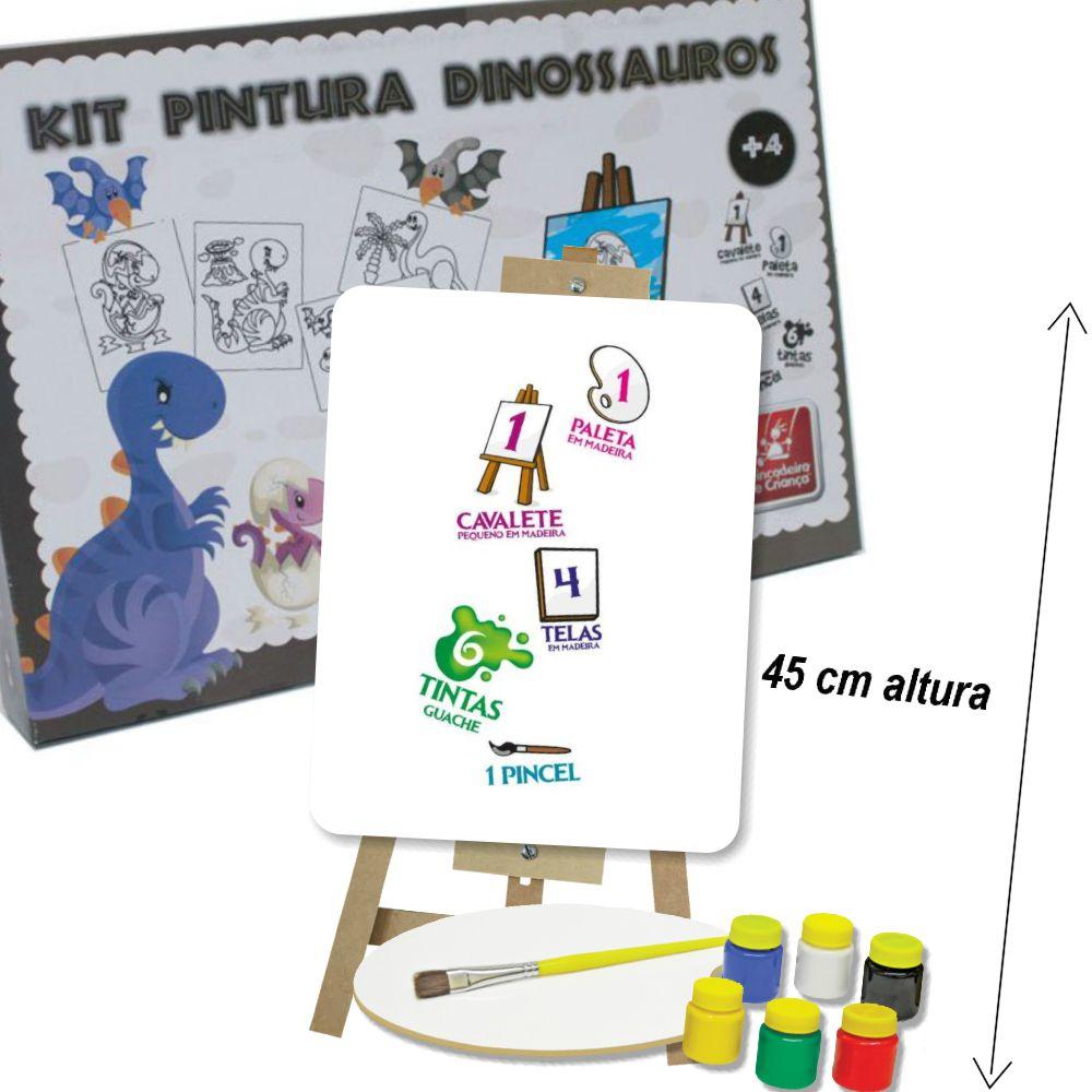 Kit Pintura Dinossauros com itens da caixa a mostra