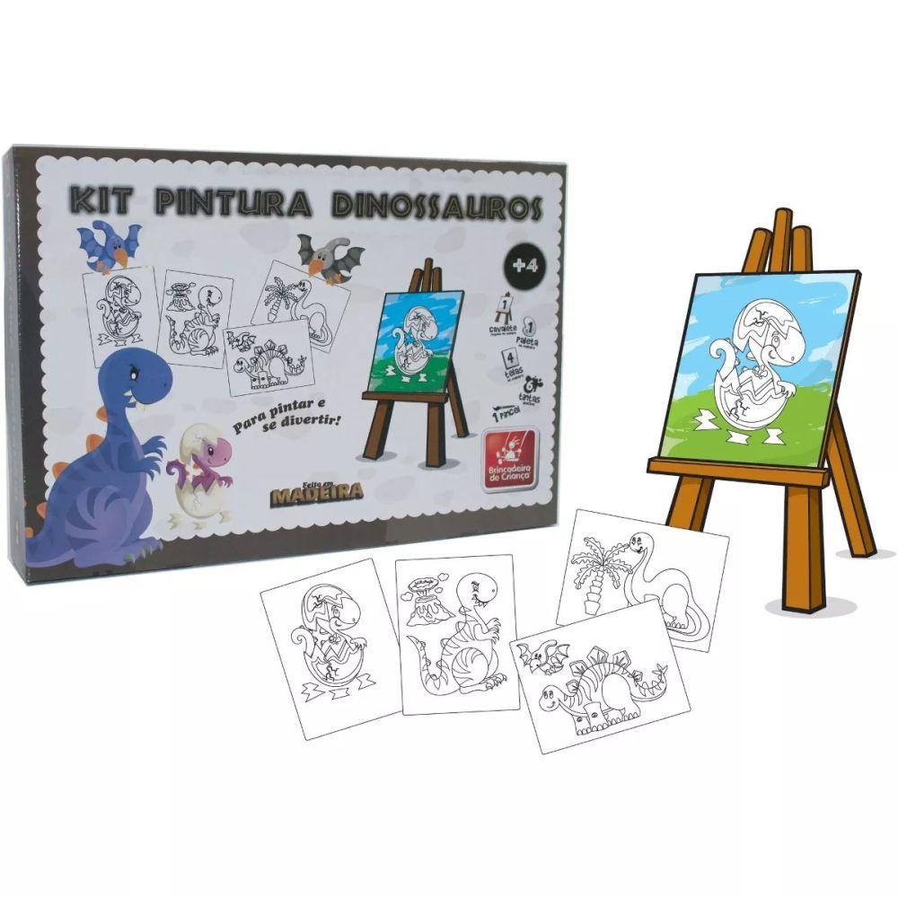 Kit Pintura Dinossauro com telas e cavalete