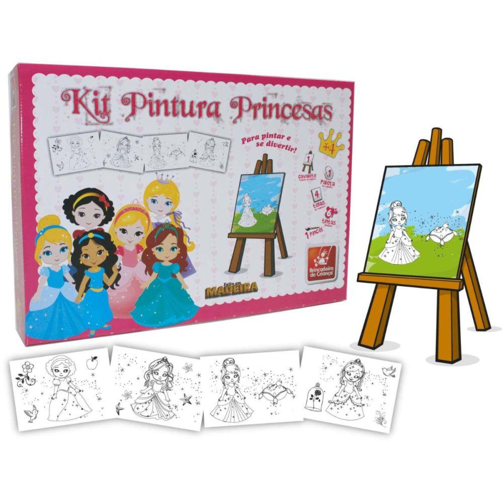 Kit Pintura Princesas Baby com telas e cavalete