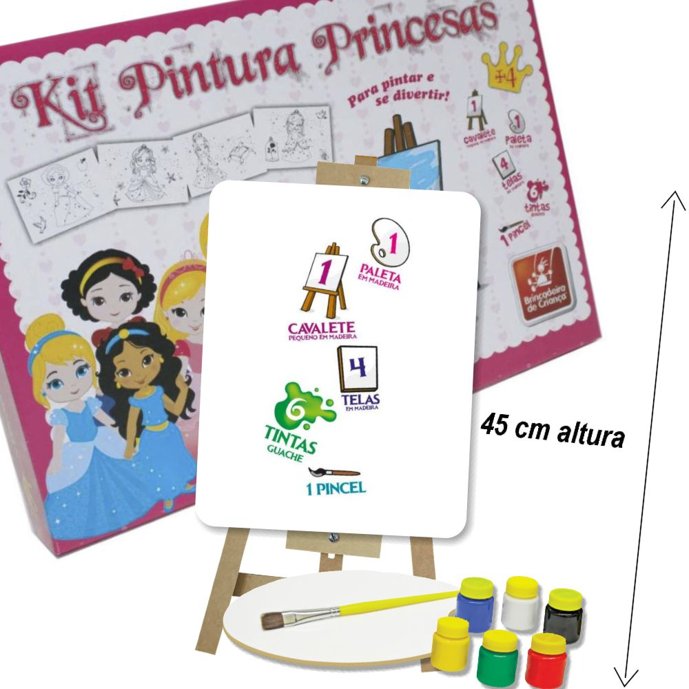 Kit Pintura Princesas Baby com itens da caixa a mostra