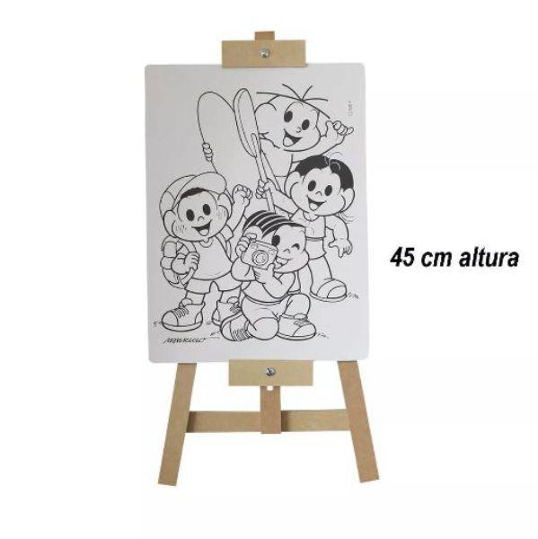 Cavalete com tela do Kit Pintura Turma da Mônica