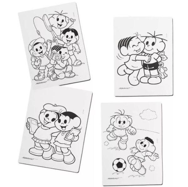 Quatro telas do Kit Pintura Turma da Mônica