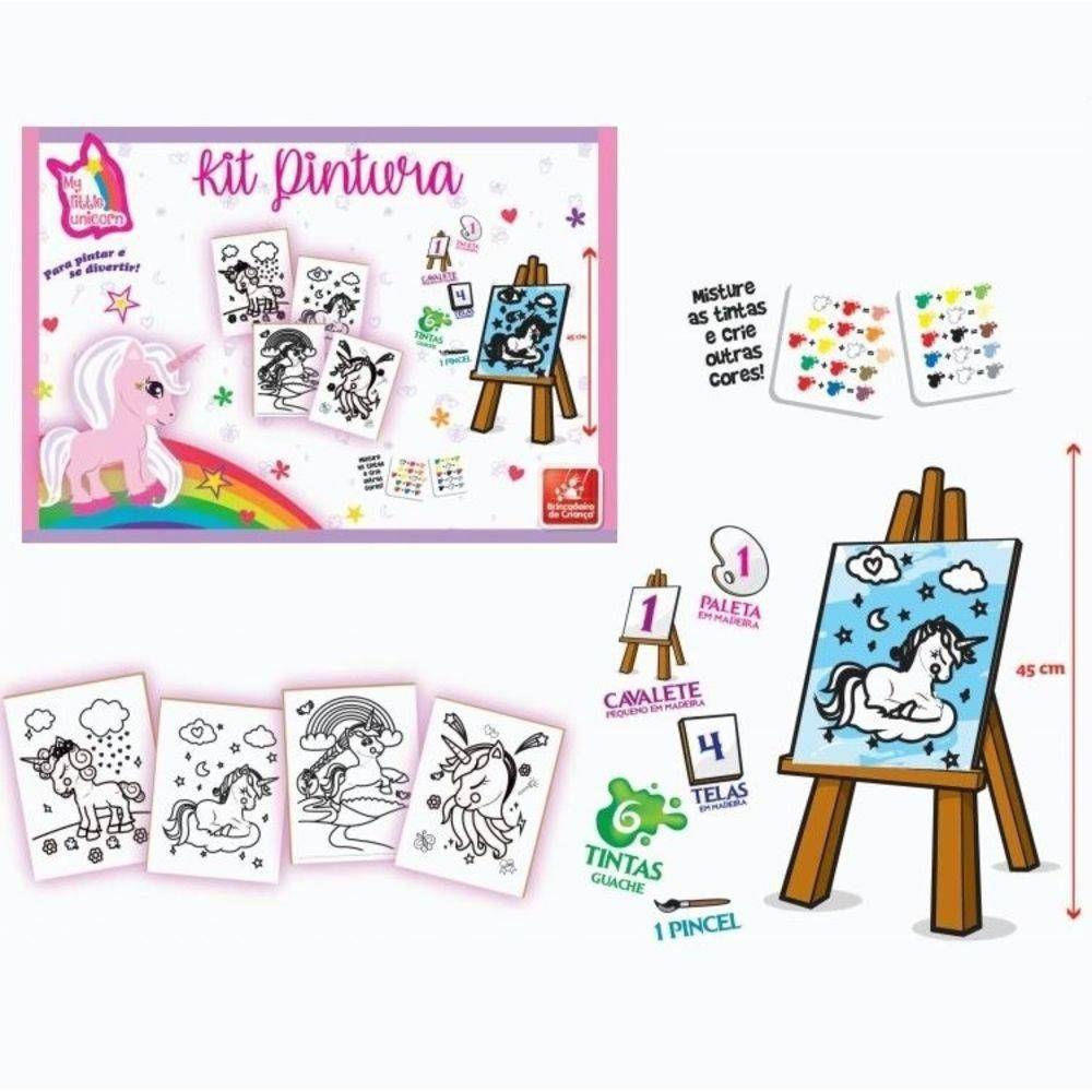 Kit Pintura Unicórnio com telas e cavalete
