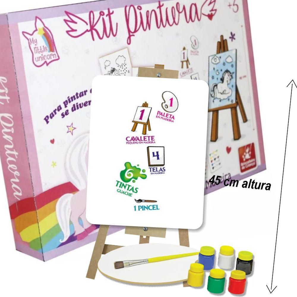Kit Pintura Unicórnio com itens da caixa a mostra