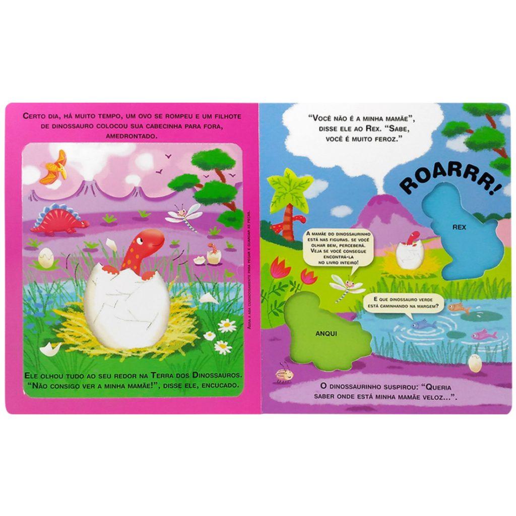livro leia e brinque dinossauros aberto na primeira página