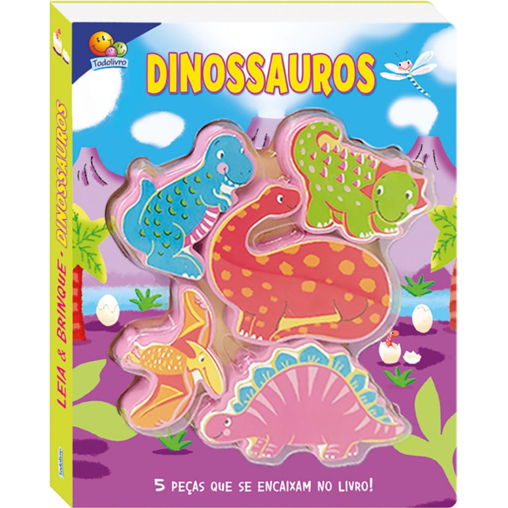 Capa do livro leia e brinque dinossauros