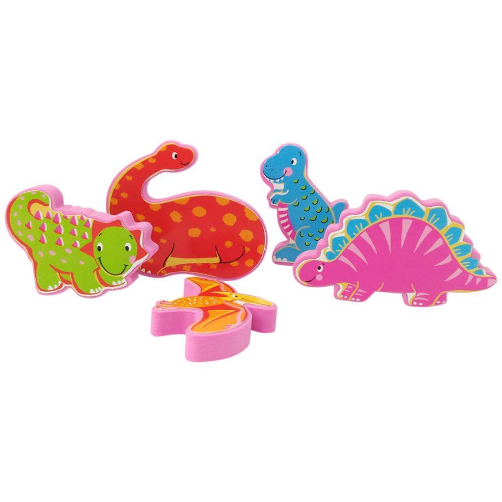 Peças do livro leia e brinque dinossauros