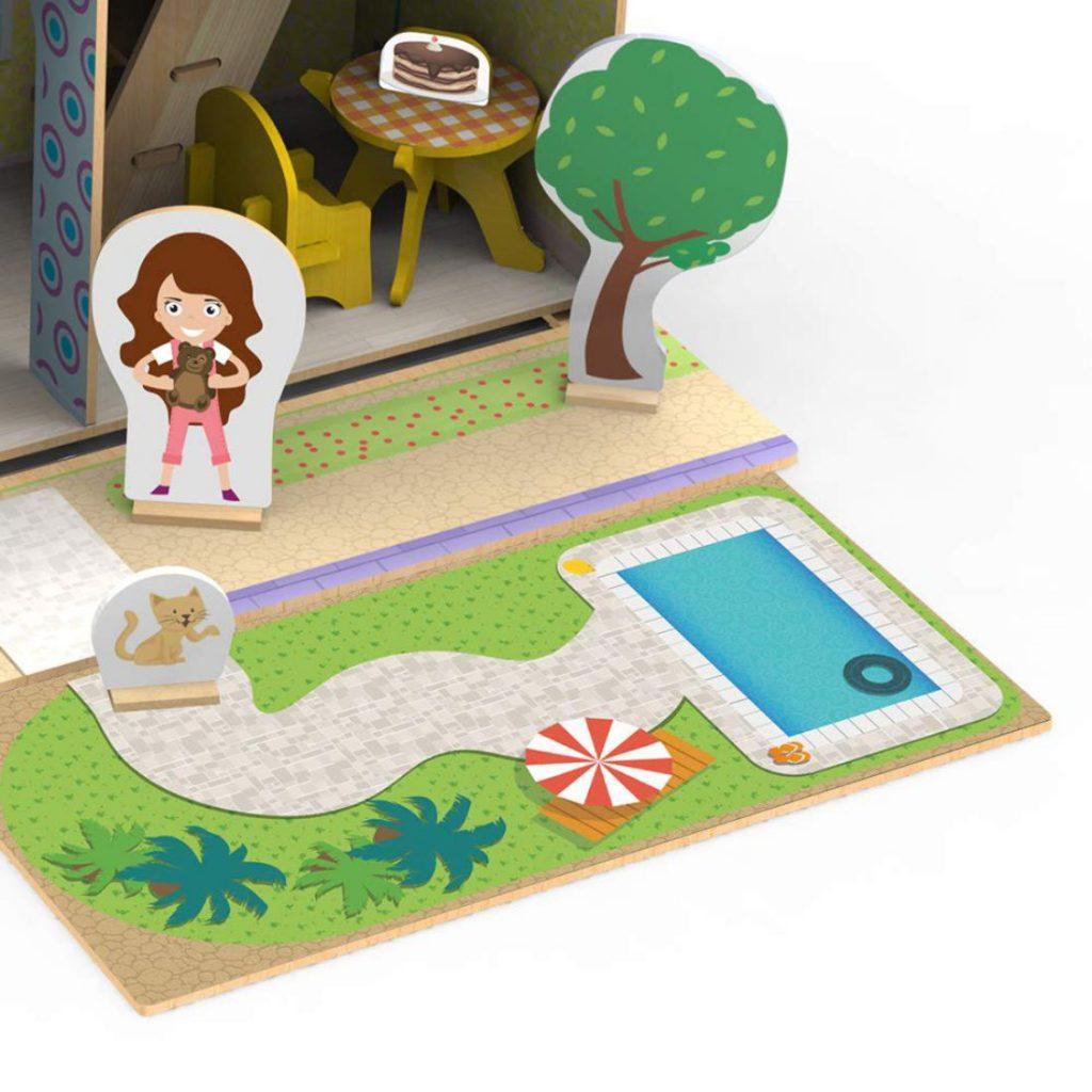 Decoração do Quebra-cabeça 3d casinha de madeira
