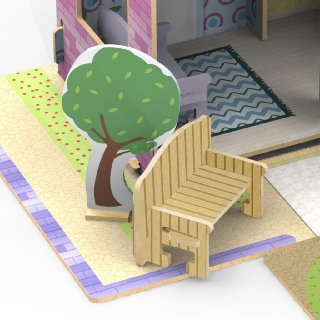 Móveis de decoração do Quebra-cabeça 3d casinha de madeira