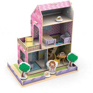 Quebra-cabeça 3d casinha de madeira montada