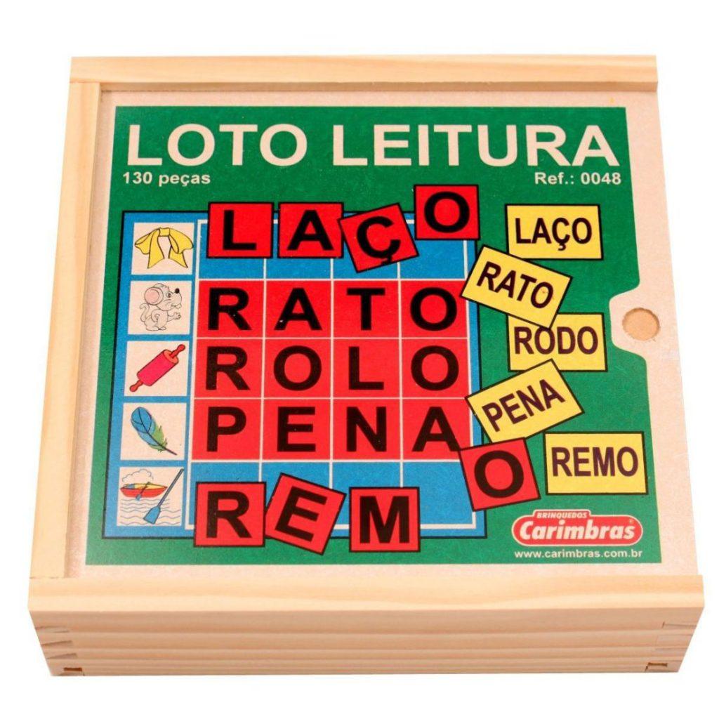 Caixa de madeira do Brinquedo educativo loto leitura