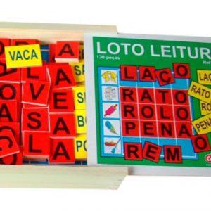 Caixa de madeira aberta do Brinquedo educativo loto leitura