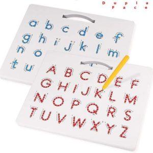 Lousa Magnética Letras Maiúsculas e Minúsculas mostrando as duas faces