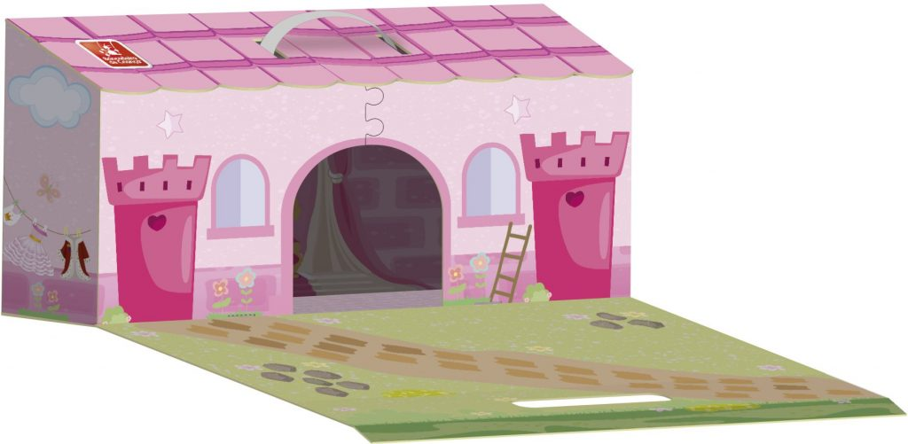 Maleta castelo princesas aberta
