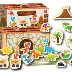 Maleta parque dos dinossauros aberta com todas a peças