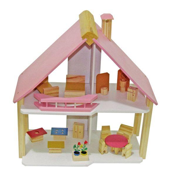 casinha de boneca mini chalé pink